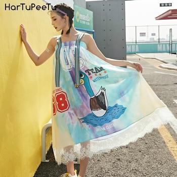 Colourful Slip Dress Midi Women Overalls Dress With Striped Wide Strap 2020 Print Swan Patchwork Lace Big Hem Elastic Strapless curved hem striped tee dress