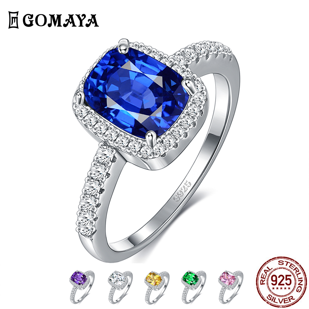 GOMAYA 6 Colors Real Sterling Silver Ring Emerald Gemstone Cubic Zirconia Rings For Women Wedding Party Ring Silver 925 Jewelry
