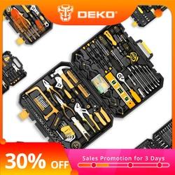 DEKO Hand Tool Set General Household Repair Hand Tool Kit with Plastic Toolbox Storage Case Socket Wrench Screwdriver Knife