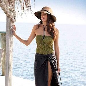 Image 5 - FURTALK kapelusz na lato dla kobiet słomkowy kapelusz kapelusz przeciwsłoneczny na plażę kobiece szerokie rondo UPF 50 + ochrona przed słońcem kapelusze wiadro czapka z wiatrem smycz