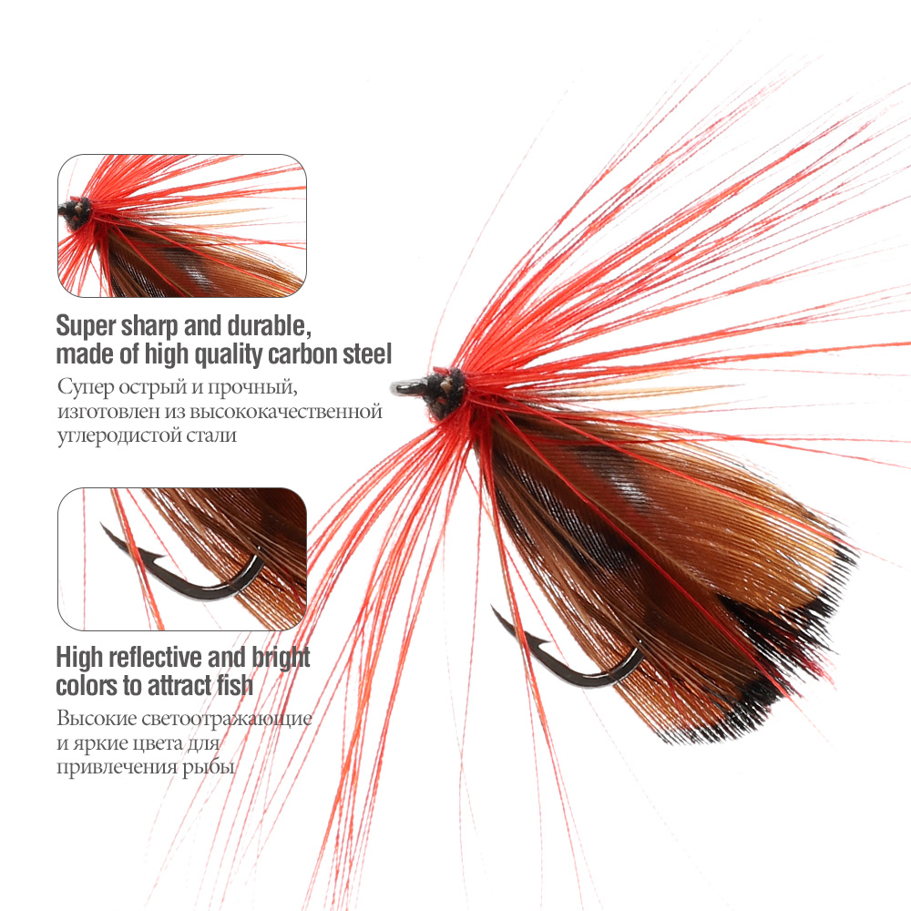 DONQL 10-50pcs Box Insects Flies Fly Fishing Lures Butterfly Trout Dry Fly Fishing Baits With Sharpened Crank Hooks Fish Tackle (3)