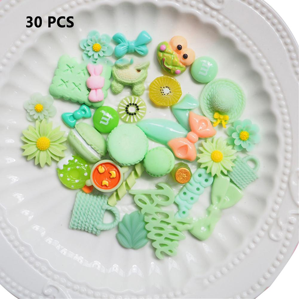 30 Pieces Slime Charms Mixed Resin Mint Green Series Beads Slime Bead Making Supplies For DIY Collage Crafts