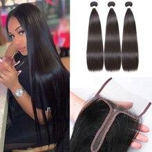 ספיר ברזילאי ישר שיער Weave חבילות עם 4*4*2 סגירת תחרה רמי ישר שיער שיער טבעי חבילות עם סגירה