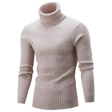 HEFLASHOR Spring Warm Turtleneck Sweater Men Fashion Solid Knitted Mens