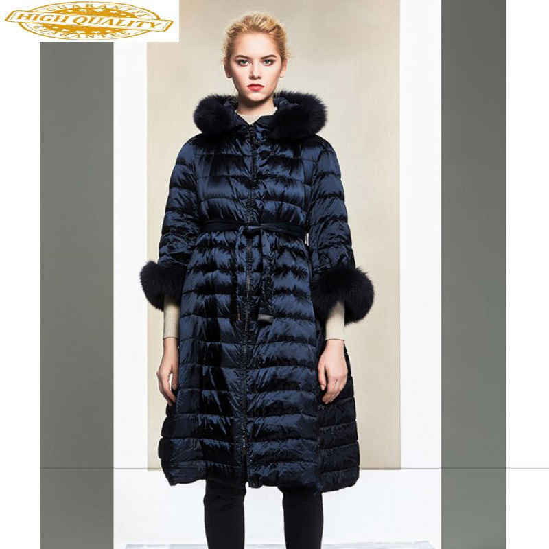 2020 Down Jacket Woman Hooded Long Winter Coat Women Real Fox Fur Collar Korean Fashion Puffer Jacket YY-0012 KJ3036