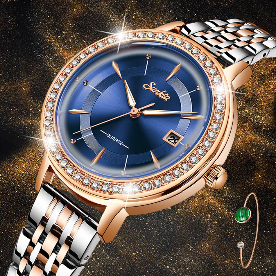 Reloj Mujer 2020 New SUNKTA Fashion Women Watches Rose Gold Ladies Bracelet Watches Creative Waterproof Quartz Watches For Women