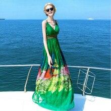 Bogeda New 2019 Real 100% Silk Dress Women Natural High Quality Elegent Holiday Beach Maldives Phuket dress Green