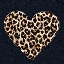 Western style Women O Neck Leopard Print Heart-shaped Top 2020 Women's Fashion Tunics T-Shirts 90S Aesthetic Woman Tshirt Top