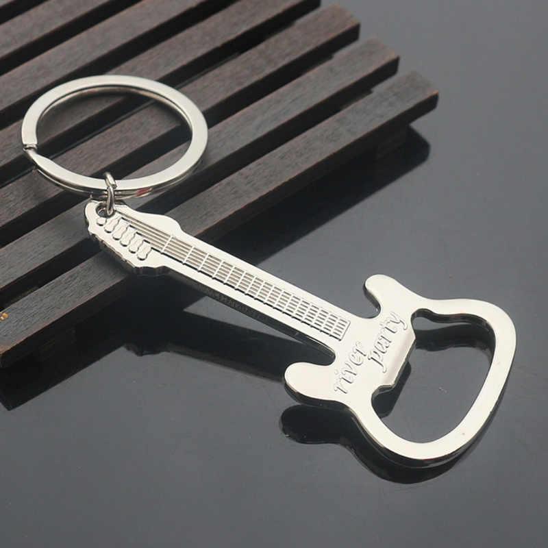 Abridor de cerveza nuevo diseño guitarra cerveza botella abrebotellas aleación colgante anillo llavero herramientas hogar regalos llavero botella