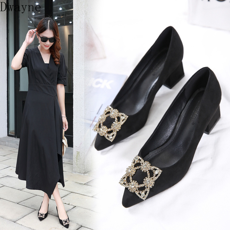 Fashion Sexy Nightclub Was Thin Square Heel High Heels 6 Cm Wedding Shoes Pointed Toe Rhinestone Buckle Single Shoes Party Pumps