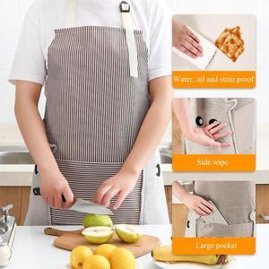 Delantales Wipeable para mujer con bolsillos, delantal ajustable, vestido resistente al agua, sin mangas, delantal de limpieza a prueba de aceite, nuevo