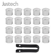 Justech 20pcs 19mm Alloy Wheel Nut Bolts Covers Caps Chrome Tire Screw Hub For Ford Cougar BMW Audi Bolt Head Cover Cap