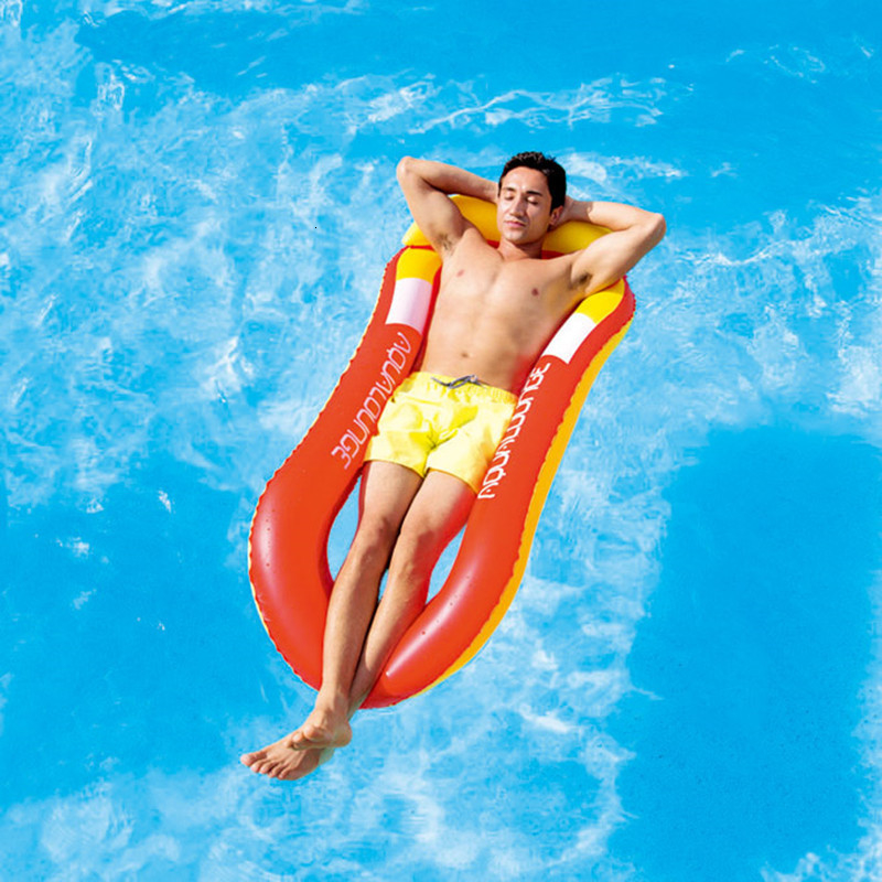 Inflatable Floating Row Chair Lounge Pool Floats Beach Single Air Mattress for Swimming Water Sports Floating Sleeping Bed Chair (2)
