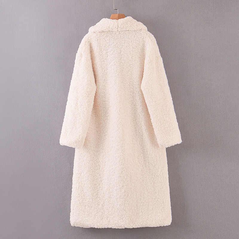 AGong kış düz kruvaze palto kadın moda sahte kuzu kürk ceketler kadın zarif cepler uzun palto kadın bayanlar JAE