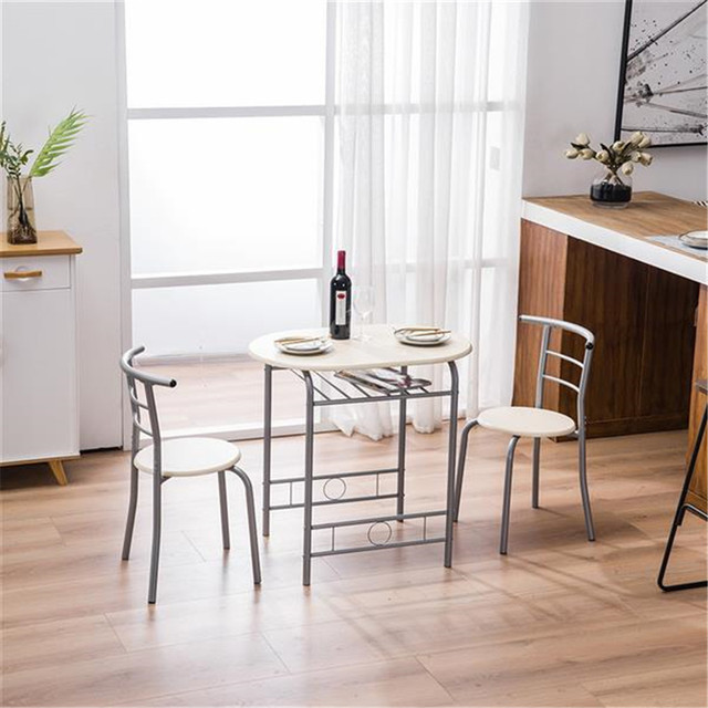 PVC Breakfast Table (One Table and Two Chairs) Black For Living Room Garden Kitchen Table Chairs Furniture 4