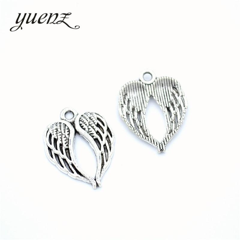 YuenZ 15 sztuk nowy produkt Antique srebrny kolor skrzydło Charms wisiorek biżuteria Metal biżuteria ze stopu znakowanie 21*17mm D449