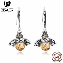 High Quality 100% 925 Sterling Silver Clearly CZ Glass Dancing Bee Insect Yellow Drop Earrings For Women Sterling Silver Jewelry(China)