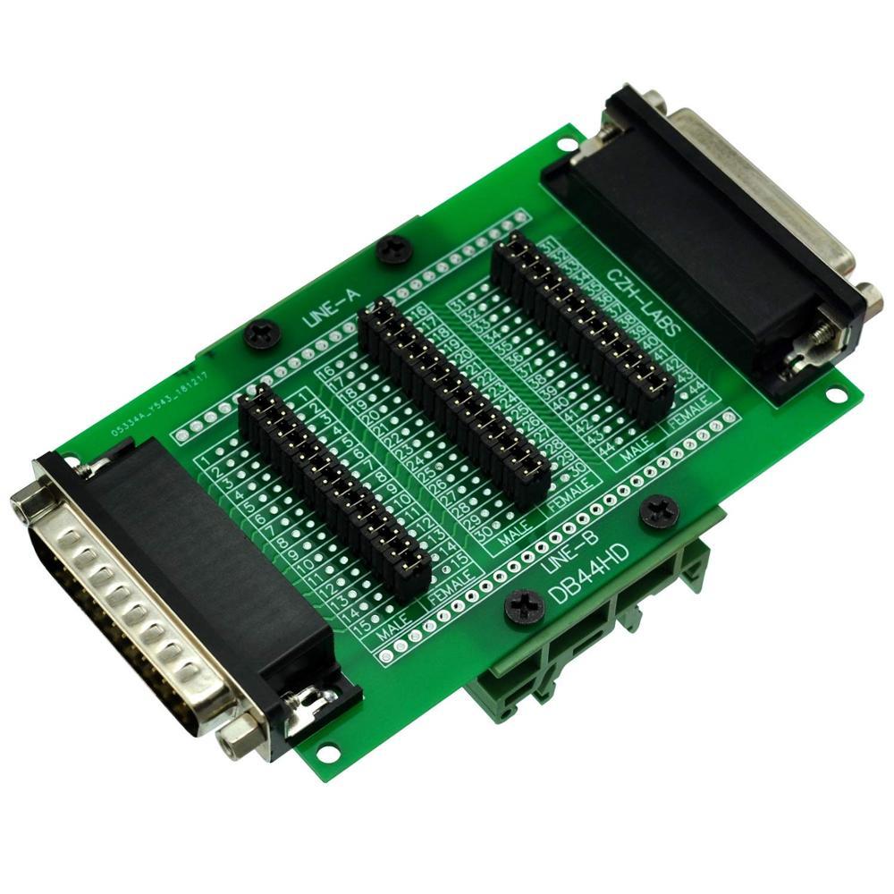CZH-LABS DIN Rail Mount D'sub DB44HD Diagnostic Test Breakout Board, DSUB DB44HD Connector Male To Female.
