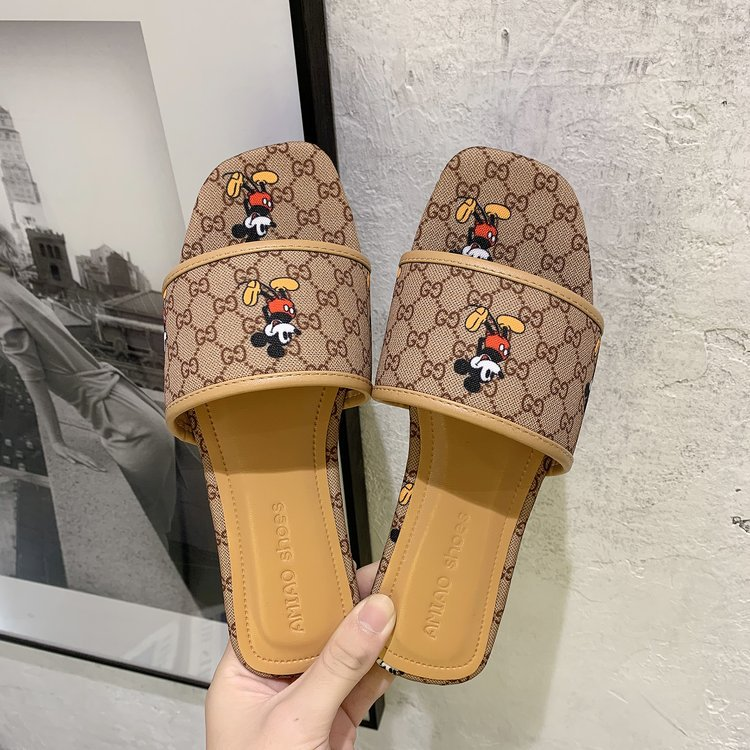 woman's square head sandals new canvas word sandals summer fashion wear half slippers