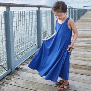 Grl summer dress Sleeveless children clothes Long dresses 3-16 years girl korean dress Kids Clothes Girls Beach Dress(China)