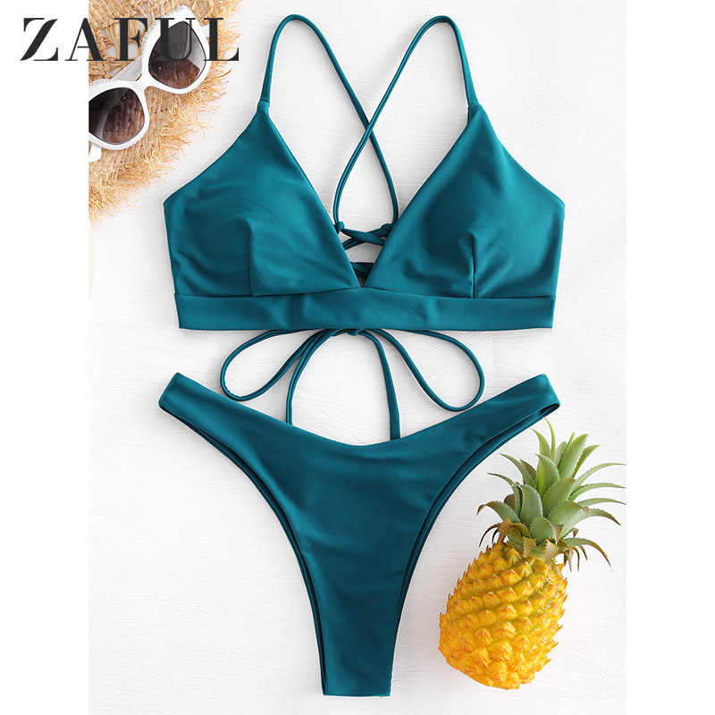 ZAFUL Back Lace-up Thong Bikini Criss-Cross Swimwear Women High Cut Swimsuit Peacock Blue Straps Low Waist Biquni Bathing Suit