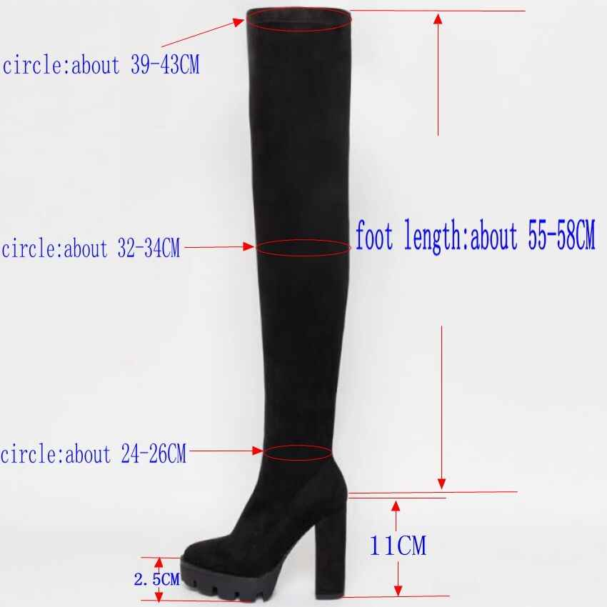 11 ซม.รองเท้าส้นสูงฤดูหนาวรองเท้าผู้หญิงต้นขาสูงรองเท้าบู๊ทหิมะผู้หญิง Faux FUR ส้นสูงรองเท้าสตรี Over เข่า Lady รองเท้า
