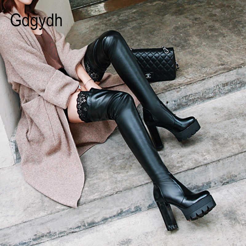 Gdgydh เซ็กซี่ Lace ต้นขาสูงรองเท้าสำหรับ PLUS ขนาดผู้หญิงแพลตฟอร์มรองเท้าเข่ารองเท้าผ้ายืดสีดำฤดูหนาวใหม่