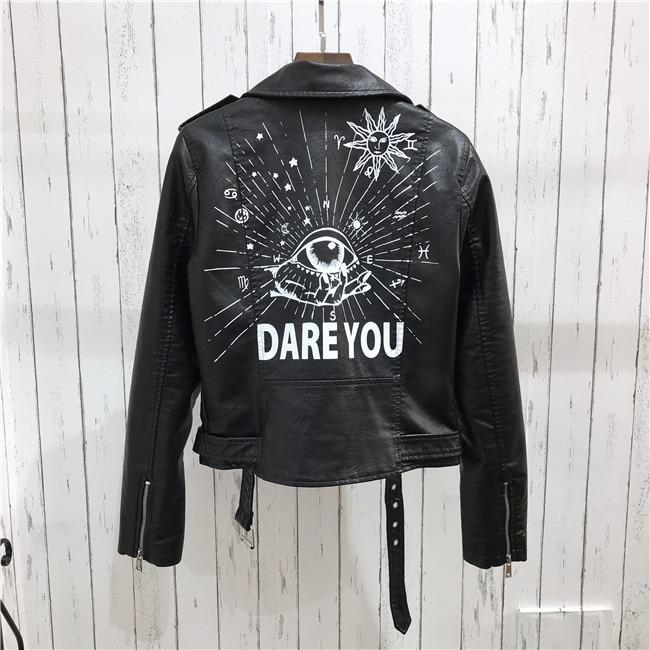 H2094b20dca15458da7b7b58abcb56e8er 2021 New Autumn Women Winter Faux Soft Leather Jackets Coats Lady Black PU Rivet Zipper Epaulet 3D print Motorcycle Streetwear