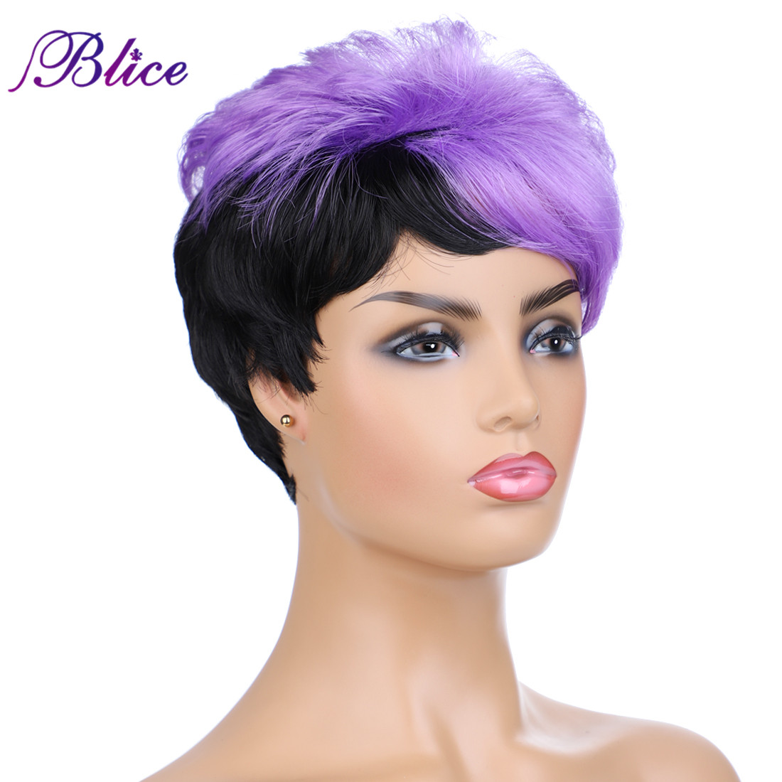 Blice Synthetic Nature Wave Full Machine Made Color Wig FT1B/Purple Kanekalon 6Inch Short Women Wig