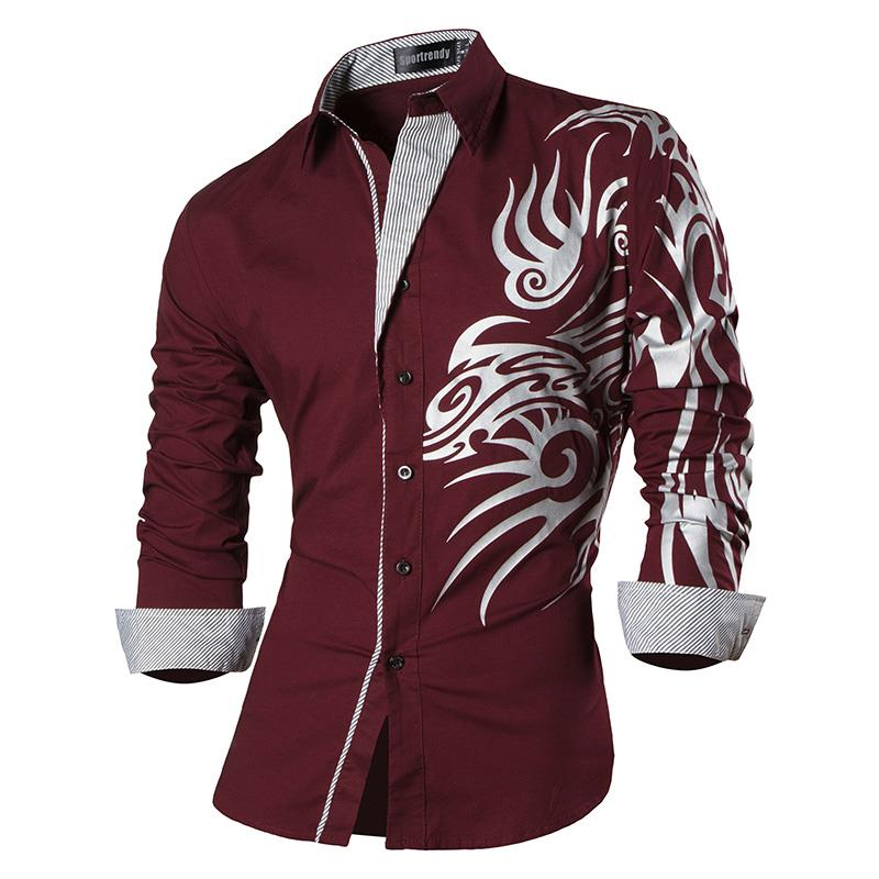 Sportrendy Men 39 s Shirt Dress Casual Long Sleeve Slim Fit Fashion Dragon Stylish JZS043 WineRed2 in Casual Shirts from Men 39 s Clothing