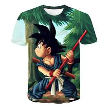 Dragon Ball T Shirt Pria Musim Panas 2020 Dragon Ball Z Super Saiyan Goku Slim Fit Cosplay 3D T-shirt Anime Vegeta dragon Ball Berjalan(China)