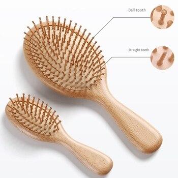 Wooden Paddle Hair Brush, Bamboo Bristles Detangling Hairbrush For Women Men and Kids 3 In 3