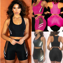 Goocheer Reflective Fitness Women 2 pcs Running Set Sexy Mesh Hollow Crop Top Elastic Tracksuit Legging Workout Suits