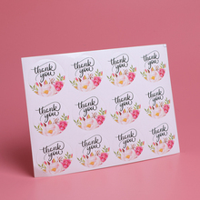 120pcs/lot Thank You Round Multi Flower Adhesive Seals Sticker Gifts Labels For Baking Products
