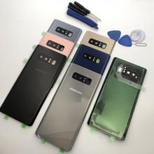 Repuesto de la carcasa de la puerta de cristal de la batería note8 + Marco de lente de cristal de la cámara trasera para Samsung Galaxy Note 8 N950 N950F N9500