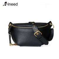 ALNEED Genuine Leather Luxury Fanny Pack Brand Women Chest Bag Chain Fashion Waist Bags Phone Purse Pocket Belt Bags