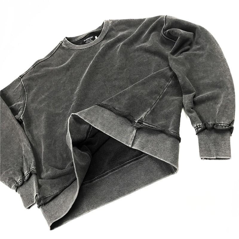 Kanye West Black Distressed Sweatshirt Relaxed Raglan Pullover Men Hip Hop Streetwear