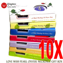 Fashion Gift Wholesale Lot of 10 Boxes heart pendant Wish Pearl Necklace Waiting come true who3621 Free shipping