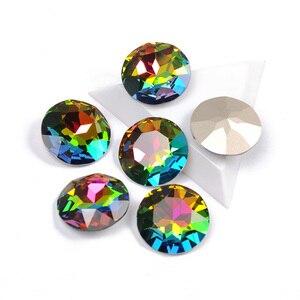 Image 3 - YANRUO 1201 Rivoli 27mm kryształ Vitrail średni szyć na kamienie duży diament okrągły cyrkonie wskazanie z powrotem DIY Craft ubrania