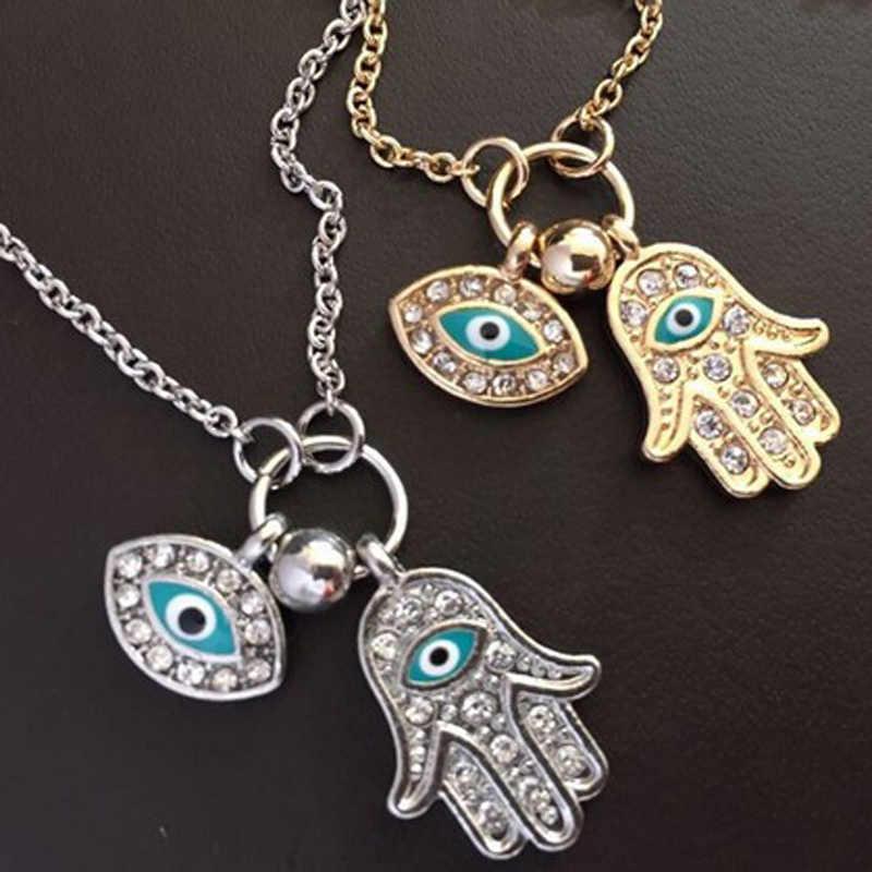 Moda kadın kolye fatima el türkiye mavi gözler takı hediye kolye takılar süspansiyon