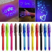 Caneta de tinta invisível, canetas de mensagem secrect, 2 em 1 caneta de luz uv mágica para desenhar atividade engraçada crianças festa estudantes presente escola diy