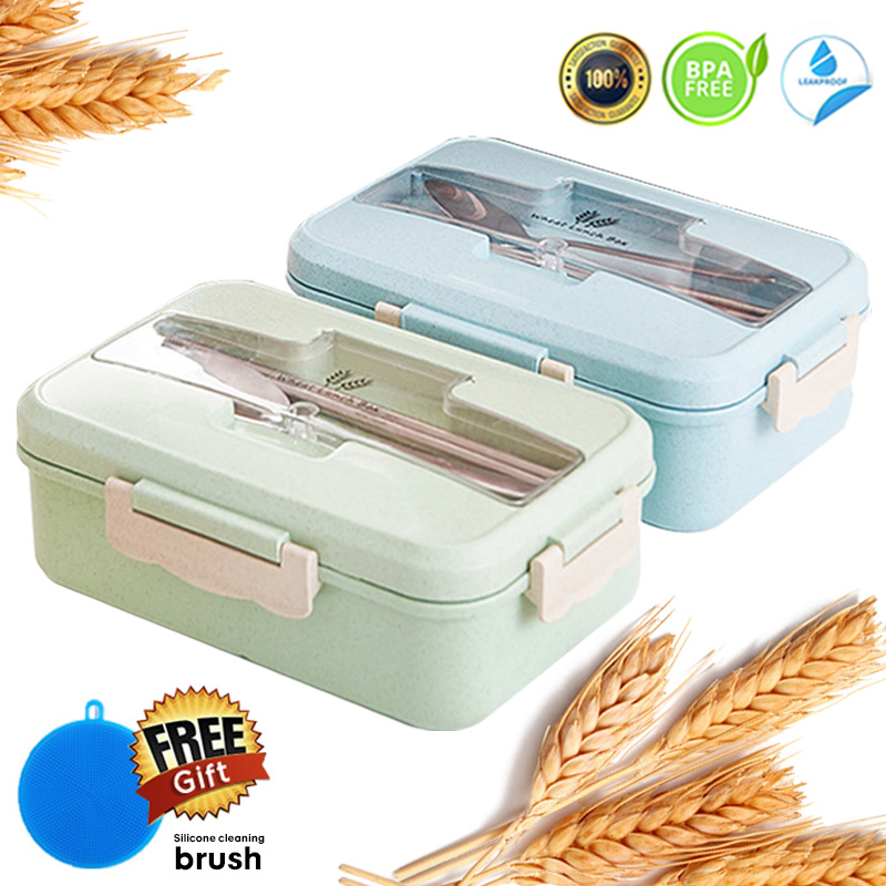 Containers Chopsticks-Kit Spoon Lunch-Box-Set Dinnerware Compartments Wheat-Straw Leak-Proof
