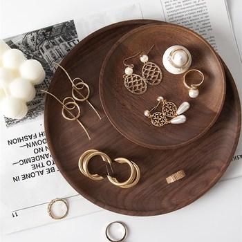 Okrągła z litego drewna czarna orzechowa tacka na biżuterię pierścionki kolczyki patera gablota jubilerska tanie i dobre opinie CN (pochodzenie) Opakowanie i wyświetlacz biżuterii