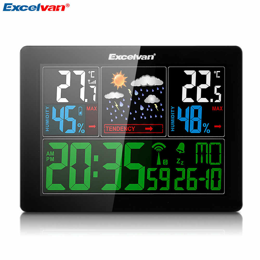 EXCELVAN 色予報でワイヤレスウェザーステーション温度湿度 EU プラグアラームとスヌーズ温度計湿度計時計
