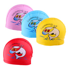 4x Kids Boys Girls Performance Bath Hat Cartoon Dolphin Swim Cap One-Size Stretch Fit Swimming Caps(China)