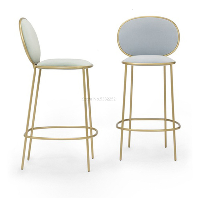 Nordic Iron Art Golden Bar Chair Simple Net Red Milk Tea Shop Dessert Shop High Chair Leisure Back Bar Stool