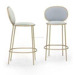 Silla de barra dorada de Arte de hierro nórdico, simple red, tienda de té de leche roja, tienda de postres, silla alta, taburete trasero de bar de ocio