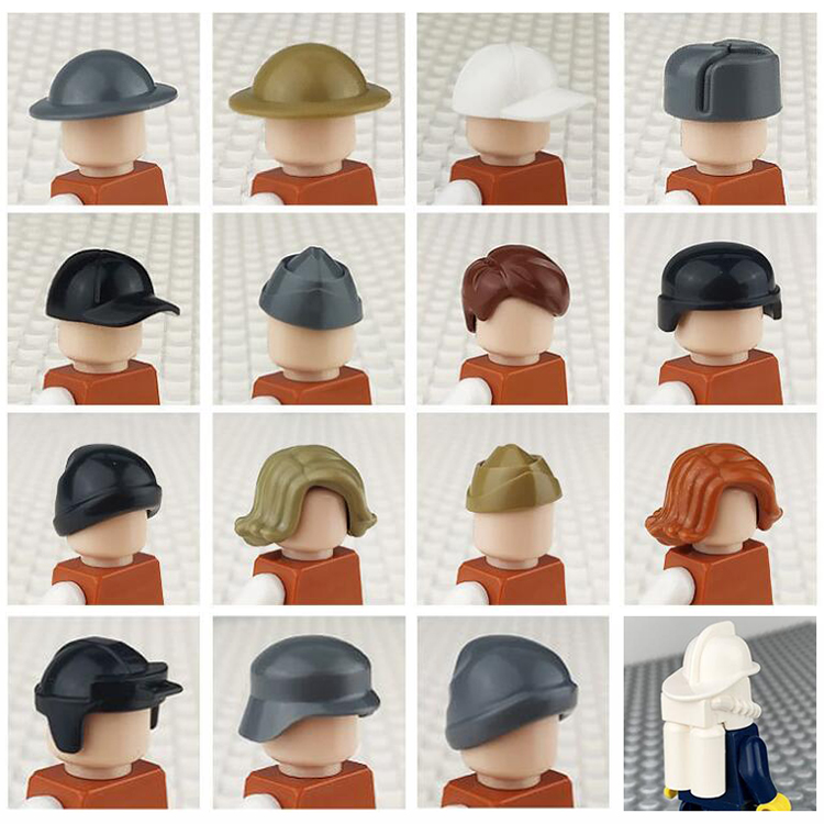 City Figures Head Parts Soldier Cap Girls Ponytail Boys Short Hair Motorcycle Hat DIY Decoration Accessories Blocks Bricks Toys