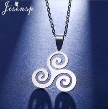 Jisensp – pendentif Vintage loup pour adolescent, Triskele, Triskelion, symbole irlandais, Argent, collier Triple spirale pour femmes et hommes, meilleur cadeau