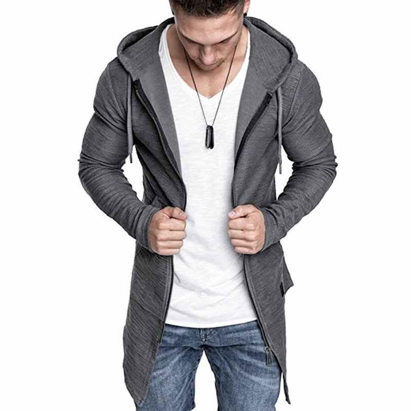 Moda masculina casaco com capuz cor sólida trench coat masculino casual manga longa cardigans outono inverno fino ajuste longo casaco 2019 novo